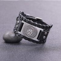 Vintage Amulet Nordic Viking Runes Wolf Paw Bear Claw Belt Buckle Woven Bracelet