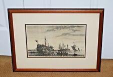 AUGUSTE BALLIN French 1842-1880 ORIGINAL ETCHING Battleships Maritime Del Scul