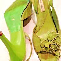 "Anne Marino Suede Shoe / Green Sandals  Size 8.5M  Dressy 3"" Heels   SEXY"