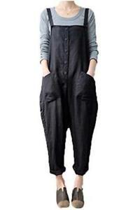 Women's Baggy Wide Leg Overalls Cotton Linen, Black, Size Medium WJ9z