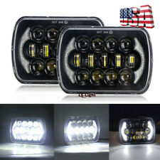 """Pair Brightest 5x7"""" 7x6 inch Led Projector Headlights Cree for Jeep XJ 1984-2001"""