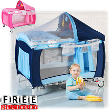 Baby Crib Foldable Playpen Travel Infant Bassinet Bed Mosquito Toy Net Music