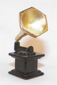 Gramophone Dollhouse Miniature Black & Gold Metal Doll House Morning Glory Horn