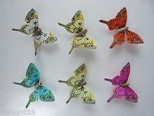 12 Mariposas Swallowtail Pluma 6 Colores, Ideal Para Cake Toppers.