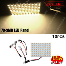 10X T10 BA9S Festoon Warm White Panel 70-SMD Interior Dome Door Map LED Light US