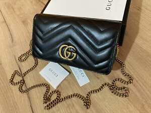 GUCCI Women Mini Bag Black Leather Gold GG Chain Beloved Made in Italy Authentic