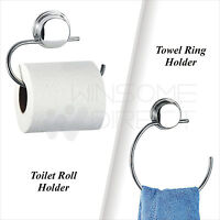 Stick N Lock Wall Mounted Toilet Roll / Towel Ring Holder Chrome Steel Plated