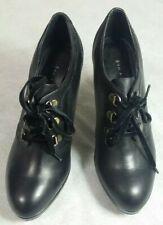 Women 5TH AVENUE Platform Heel Black Lace Up Leather Shoes UK 4 EUR 37