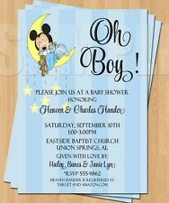10 Baby Mickey Mouse Sleeping Moon Baby Shower Invitations Cute Sweet OH BOY
