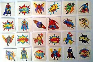 24 Assorted Super hero Superheroes Tattoos Kids Boys Party Loot Bag Fillers