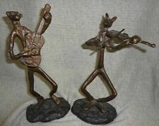 BRONZE WILDWOOD ACCENTS FOX & BEAR SCULPTURES PLAYING GUITAR/ VIOLIN