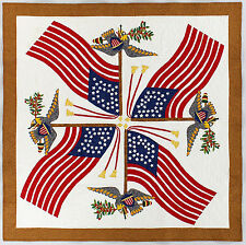 Hand Applique Flag Medallion FINISHED QUILT - Patriotic Wall Quilt - Feather