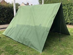 Danish Army Heavy Duty Canvas Shelter Bivi Tent Tarpaulin Ground Sheet Basha NEW