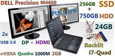 """(3D Design FHD) DELL M4600 i7-QUAD (256GB-SSD + 750GB 24GB-RAM) nVIDIA-2GB 15.6"""""""