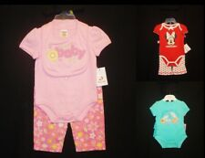 Sz 0-3 mo Infant Girl Three Outfits Sets Disney Fisher Price Miniville NEW