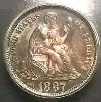 1887  Liberty Seated Dime  ICG MS64
