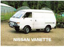 Nissan Vanette Van 1985-86 UK Market Foldout Sales Brochure Petrol Diesel