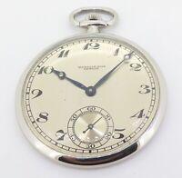 .1920s Wegelin Fils Geneve Platinum Slim Mens 43mm Pocket Watch