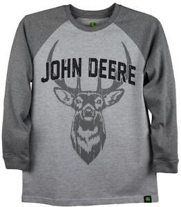 NEW John Deere Boys Gray Deer Head Long SleeveT-Shirt  Sizes 8,10/12, 14/16