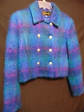 HARRIS WALLACE Womens Cropped Double Breasted Coat/Jacket Sz 12 Mohair Wool Warm