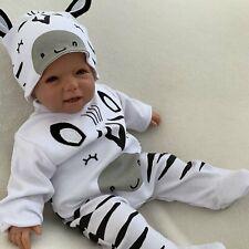 NEU Baby Jungen Mädchen Set 2-teilig Strampler + Mütze Gr. 56 62 68 74 Zebra
