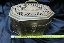 Large Footed Hinged Brass Trinket Inscense Burner Potpourri Box with Latch