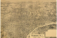 Map of Newark, New Jersey; 1895; Antique Birdseye Map; Custom Printed
