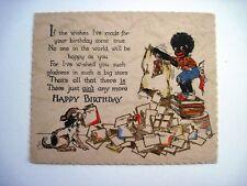 Adorable Black Americana Birthday Card w/ Boy Dumping Cards from a Bag & Dog  *