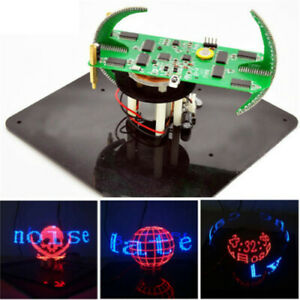 Electronic Biaxial Spherical Rotating LED Kit POV Soldering Train DIY New