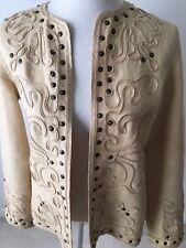 Linda Allard ELLEN TRACY 10O% Linen Jacket w. Soutache Embroidery & Brass Heads