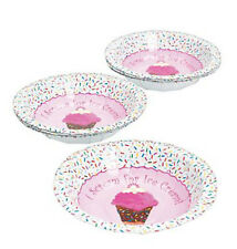 I SCREAM FOR ICE CREAM Dessert Bowls Pink Frosting Cone Design Pack of 8