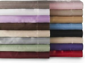 Sweet Dreams Silky Satin Flat Sheet - Full, Ivory, Wrinkle Free and Stain Resist