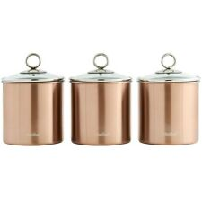 Set of 3 Brushed Copper Kitchen Canisters with Glass Lids Stainless Steel