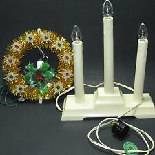2 Noma Christmas Lights Lites Candolier Tinsel Star Tree Topper Vintage Work
