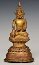 16th Century, Shan, Antique Burmese Bronze Seated Buddha with Gilded Gold