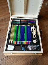 Royal Deluxe Sketching Artist Box Set Kit Art Drawing Charcoal Pencils Pastels.