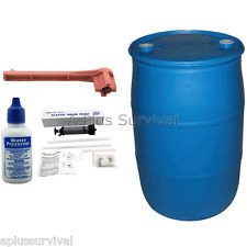 55 Gallon BPA Free Water Storage Drum & Accessories Kit Camping Survival