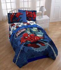 Spiderman Reversible Boys Twin Single Comforter & Sheets, 4 Piece Bedding, New!