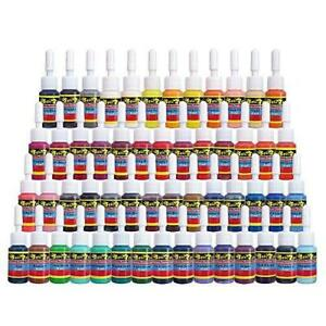 Solong Tattoo Ink Set 54 Complete Colors Pigment Kit 1/6oz (5ml) Tattoo Supply