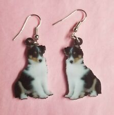 Shetland Sheepdog Sheltie Dog lightweight earrings jewelry Free Ship Tri color