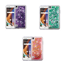 For LG Tribute HD/X Style Liquid Glitter Bling Hybrid Protector Phone Case Cover