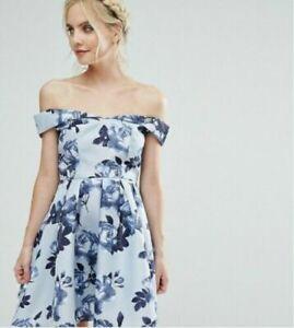 Chi Chi London Petite Mini Bardot Floral Graduation Dress Blue Size 14 RRP £115