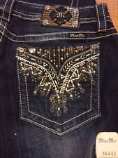 Miss Me - size 30 - boot cut jeans - NWT - gold & silver bling!