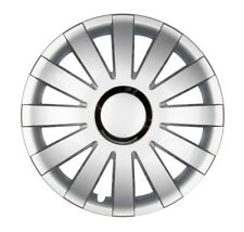 """4x PREMIUM DESIGN Radkappen Radzierblenden """"Onyx"""" 15 ZOLL #51 Silber Chrom Ring"""