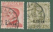 LIBIA. Anni 1917-18. Francobolli d'Italia del 1901-18 soprastampati. 2 valori