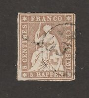 Kingscrossing - Switzerland stamp #20, Used, great margins, imperf, CV $200