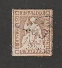Switzerland stamp #20, Used, 4 margins clear, imperf, SCV $200