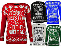 Womens Xmas Christmas Filthy Animal Print Ladies Knitted Long Sleeve Jumper