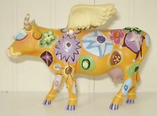 VINTAGE HIPPIE LOOKING WINGED COW FIGURINE BEAUTIFUL COLORFUL PATTERN WESTLAND