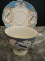GRACE'S TEAWARE FOOTED CUP & SAUCER BLUE BIRDS GOLD TRIM
